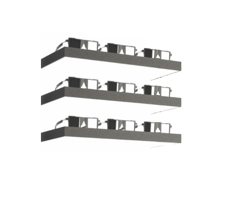 LED shelf, 3 positions, black ledge