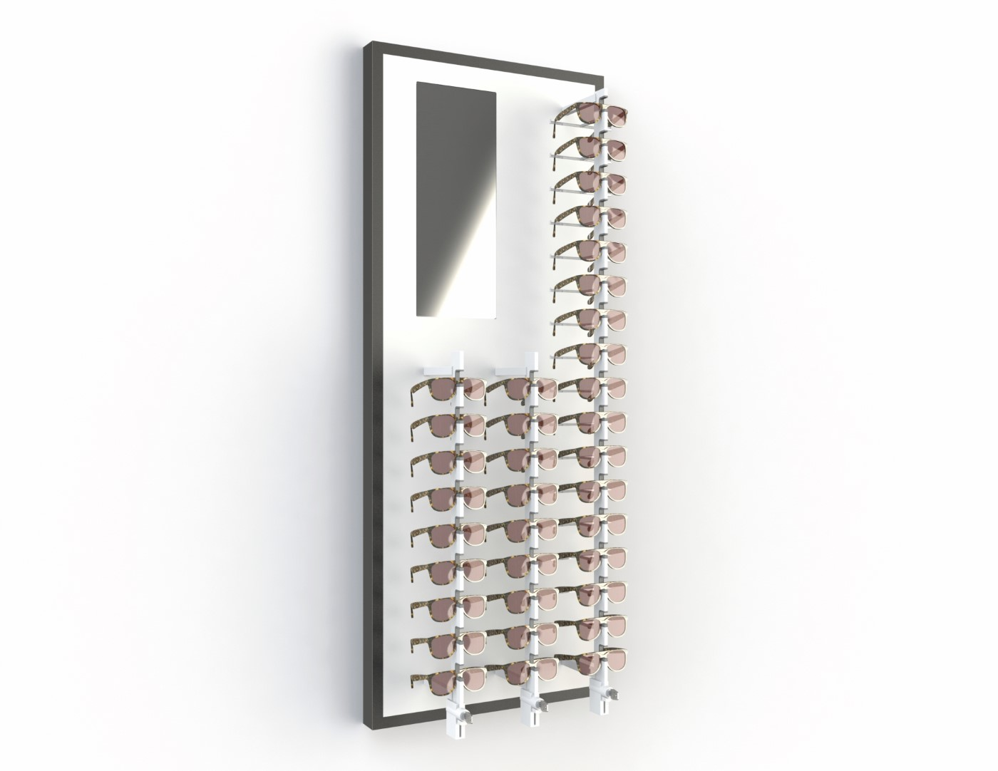 Store Elements, 600mm, 35 positions key-locked + mirror, black ledge